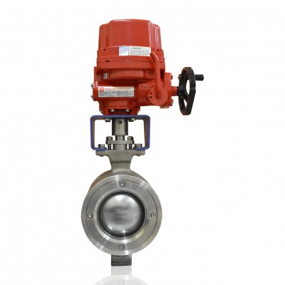 VTV Segement Ball Valve, SS304, Complete With Bracket & Adaptor, 6""