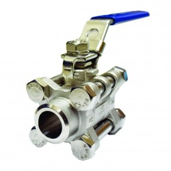 VTV 3pcs Body Ball Valve SS316 Butt Weld To 1000 WOG 1.5inch