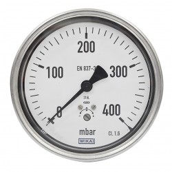 "WIKA Pressure Gauge 4"" ( 0 to 400 Mbar ) Lower Back"
